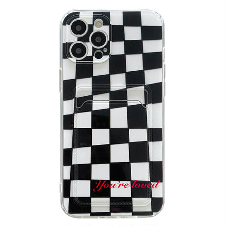 チェック柄カード入れ付 iphone11/12promaxケース 可愛い iphonexs/xsmaxカバー  便利 艶あり  黒白系M752