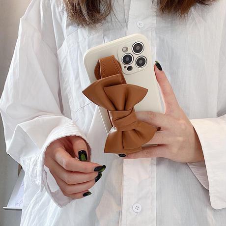 リボン持ち手付  iphone12/13ケース  3色 iphone11/ SE2カバー  スタンド機能 お揃い 可愛い M930