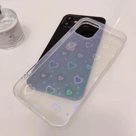 光るカラーハート柄 iphone12/se2ケース  キラキラ綺麗iphone11/xs/8カバー  透明  ファッションセンス感じいいM754