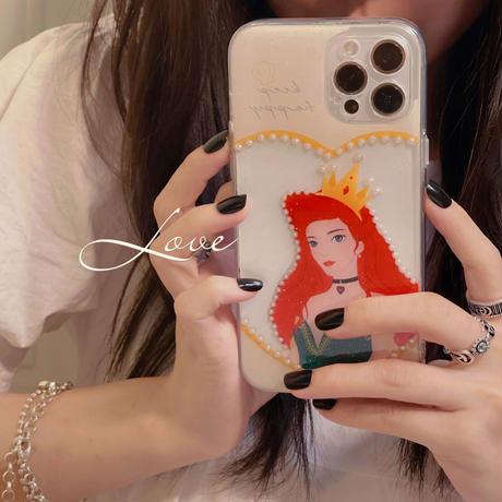 真珠 プリンセス iphone12/11proケース 綺麗 iphoneSE2/XS/8カバー   お揃いおしゃれカバー ガールズに超人気 M655