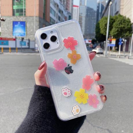 動けるさくら  iphoneSE2/12ケース ストレス解散 透明アイフォン11カバー 流れ紗  可愛い面白いスマホカバーM380