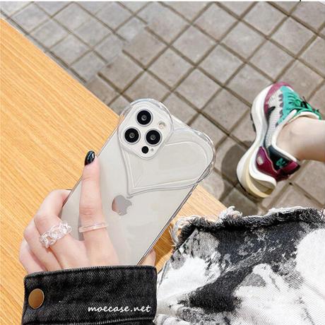 ハート型 透明iphone11/12promaxケース クリアiphonexs/xsmaxカバー  写真メモ挟める   ガールズに超人気M732