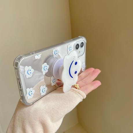 笑顔の雲グリップ付  iphone12/11promaxケース   鏡面iphoneSE2/XS/11カバー 卓上スタンド機能付  耐衝撃ソフトケース  M760
