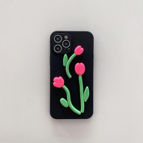 チューリップ  iphone11/12proケース 立体の花 iphonexr/se2カバー  ガールズ人気  頑丈M619