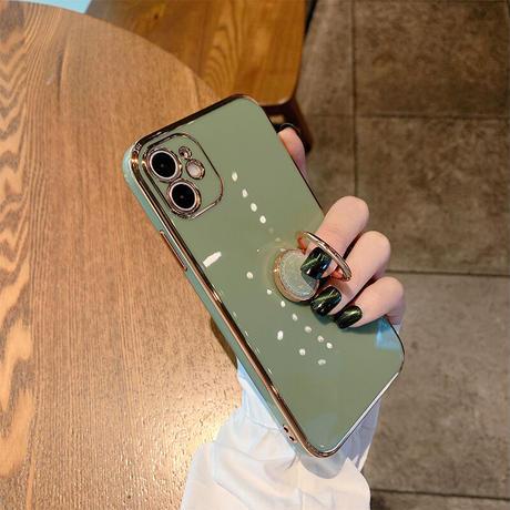 スマホリング付 iphone11/12promaxケース 金色枠ツヤありアイフォンSE2/XSMAXカバー スタンド機能付 落下防止 頑丈耐久性耐衝撃 M300