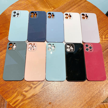 ツヤ感おしゃれiphone12/11promaxケース シンプル風アイフォンSE2カバー 10色 お揃いセンスいいガラス携帯保護カバーM327