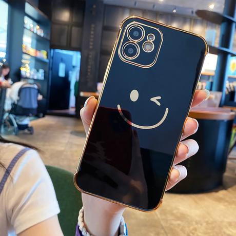 金色枠 笑顔 iphone12/11promaxケース ツヤ感ソフトiphoneSE2カバー 頑丈 耐久性 汚れに強い  傷が付きにくい M565