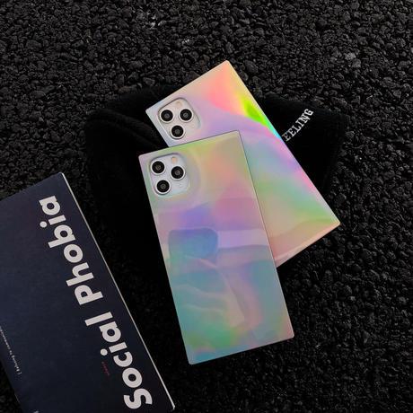 スクエア光るiphone12proケース 鏡面変色四角iphoneSE/11PROMAXケース おしゃれ個性アイフォンスマホケース ファッション耐久性ある携帯カバーM82