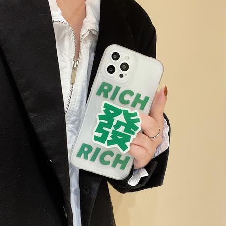 麻雀牌グリップ iphone13/13proケース RICH  アイフォン12/11Ppromaxカバー  お揃い  ハツ イーソー  面白いM1130