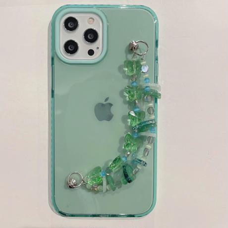 玉チェーン付 iphone12/13promaxケース 緑色 iphonexs/8plusカバー 透明スマホケース  頑丈M771