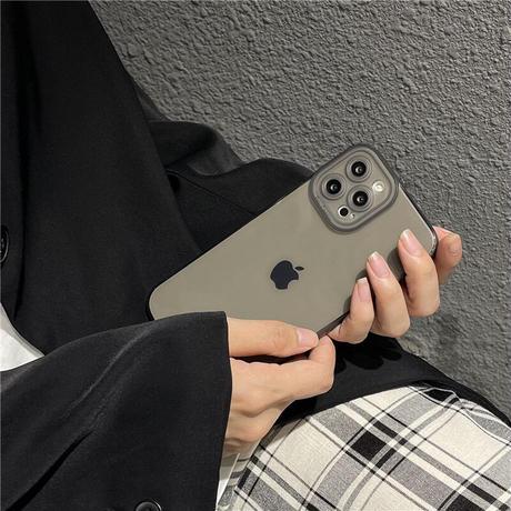 透明 iphone13/12promaxケース  艶カラーアイフォン11/XRカバー   全面保護  頑丈 シンプル風M949