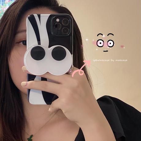 目eye スマホグリップ付 iphone11/12promaxケース 幾何学模様 iphoneSE2/xsカバー  スタンド機能付 黒白系M684