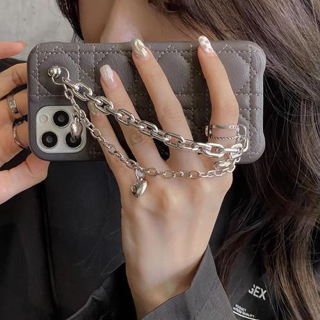 ハート付きチェーン iPhone13mini/13proケース   革製 iphone12pro /11カバー   お上品 品質いい ファッションM1127
