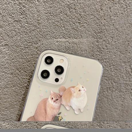 可愛い猫柄 iphone11/12promaxケース catクリア iphonexs/8plusカバー  透明  キュート 耐久性ありM766