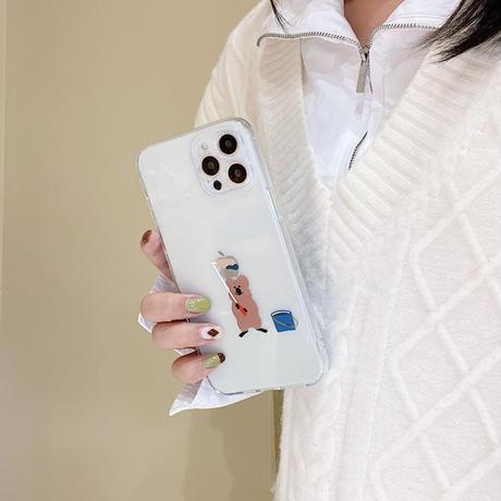 お揃い熊さん iphone13mini/13proケース  可愛い透明 iphone12/11promaxケース   耐衝撃  耐久性ありM1057