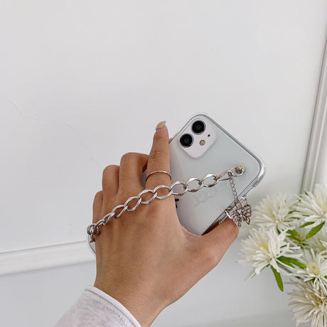 iphone11/12promaxケース 透明 クリアケース  蝶チェーン付き 芸能人愛用アイフォン8/SE2カバー 保護力強いM192