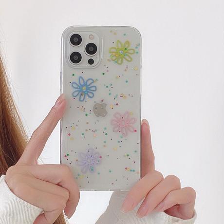 グリッター花柄  iphone12/11proケース  透明 iphoneSE2/XS/8カバー  頑丈 インスタ人気  手触りいい M567