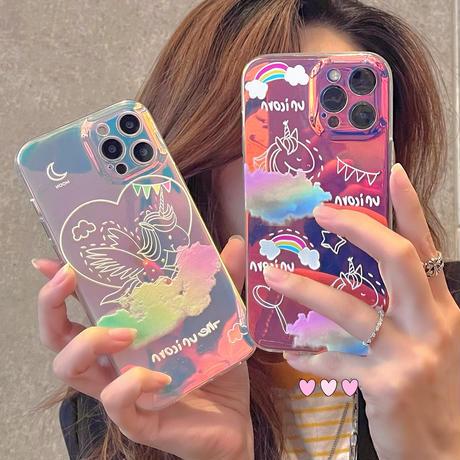 変色ユニコーン柄  iphone12/11ケース  お揃いキラキラ iphoneSE2/xs/8カバー   綺麗  頑丈 艶ありM772