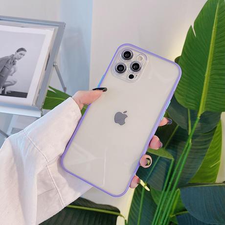 カラーサイド透明 iphone13pro/13promaxケース  カメラレンズ保護 艶カラーiphone12/11カバー  耐衝撃頑丈M1038