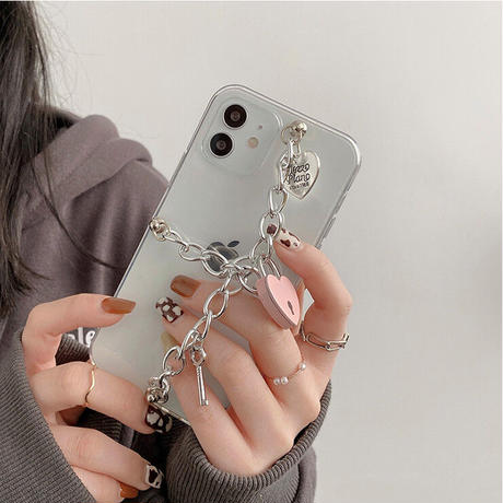ハートロック チェーン付  iphone13/12proケース  お揃い透明 iphone11/xs/se2カバー   ピンク銀色 頑丈艶ありM751