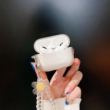 笑顔の花 エアーポッズプロケース  キラキラストラップ付き  airpodsカバー    綺麗 ガールズに超人気  M591