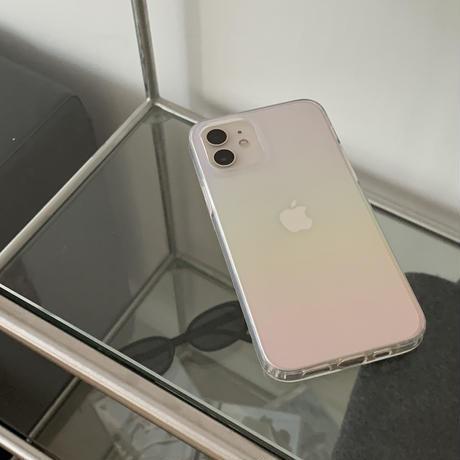 レインボー グラデーション iphone11/12promaxケース オシャレツヤ キラキラアイフォンSE2クリアカバー  虹透明感M274
