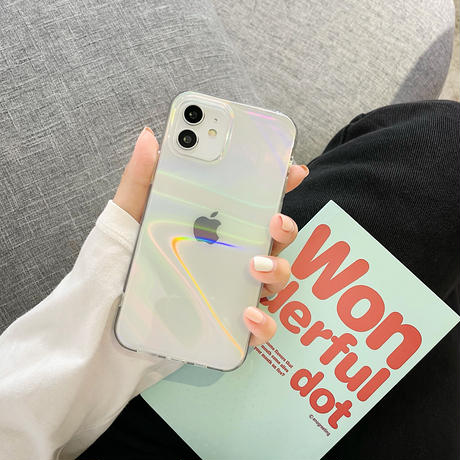 オーロラカラー輝く iphone12/11promaxケース  キラキラ光る iphoneSE2/XS/xsmaxカバー おしゃれ透明ケース 頑丈 人気品 M467