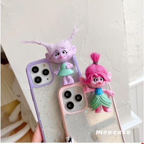 トロール人形 スマホケース iphone12proケース 5.4/6.1インチクリアiphone11pro/8plusカバー ピンク むらさき   恋愛運アップ 髪型変わる DIY M145