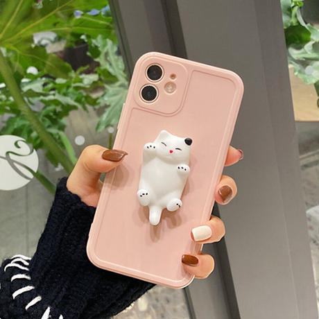 立体柔らかい猫付 iphone11/12proケース ストレス解散  つまむcat iphoneXR/SE2カバー ツヤ感  超可愛い頑丈アイフォンケースM289