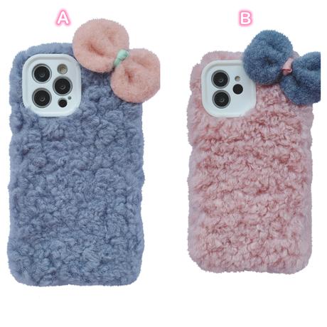 可愛いリボン iphone13mini/12miniケース 柔らかい アイフォン11pro/SE2カバー  もふもふ ギフト暖かい携帯カバーM1140