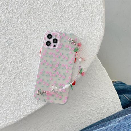 花柄  iphone11/12proケース  チェーン付 iphoneSE2/XS/8クリアカバー   綺麗 可愛い  インスタ人気  ガールズ向けM583