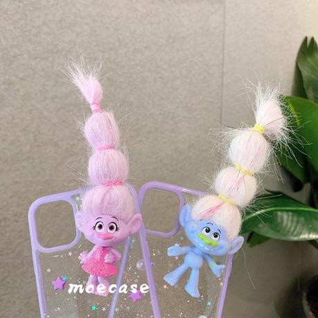 トロールズ iphoneカバー 可愛いiphone12/11pro/se2ケース トロールズスマホケース  pink purple お揃いカバー髪型編むM190