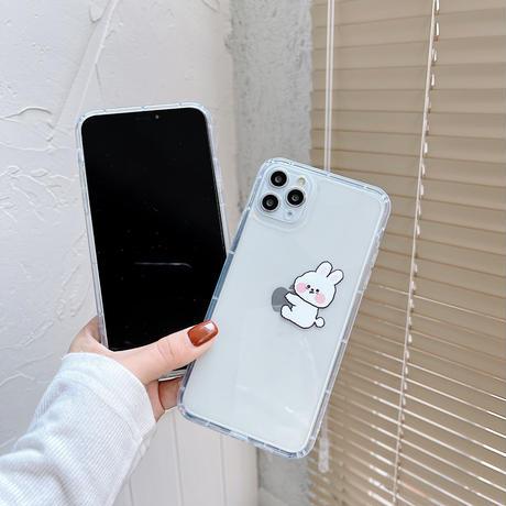 超可愛いウサギ iphone11/12proケース rabbit iphoneXS/SE2カバー 透明クリアアイフォンケース  耐久性頑丈携帯カバーM317