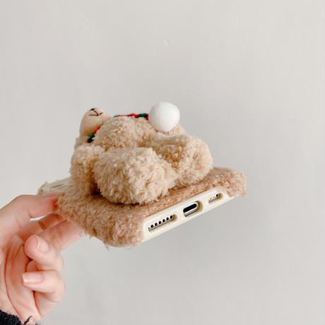 熊ぬいぐるみ付  アイフォン13pro/13promaxカバー 可愛い暖かい  iphone12/11promaxケース   ギフト  ふもふもM1118