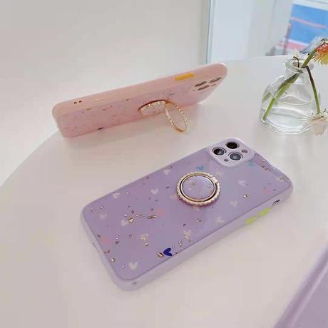 おしゃれラメ入りハート柄 iphone12/11/SE2ケース ツヤありキラキラ アイフォンxsカバー 同系リング付 スタンド機能付 M311
