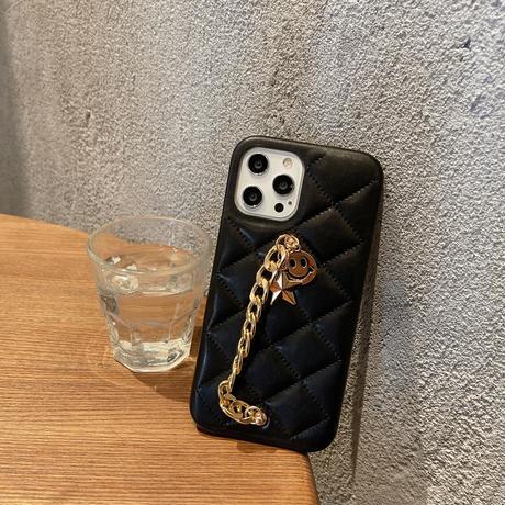 菱形革 iphone11/12promaxケース 笑顔星チェーン付 iphonexs/8plusカバー  黒色系 耐久性ありM769