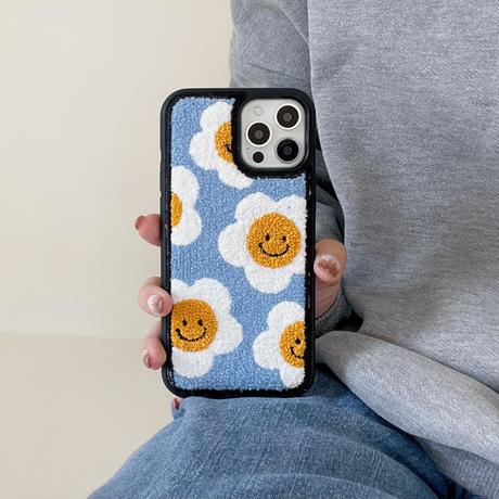 笑顔の花 iphone13/13promaxケース 刺繍入り可愛い iphone12/11カバー   綺麗 秋冬アイテム ガールズ向け 頑丈 M1078