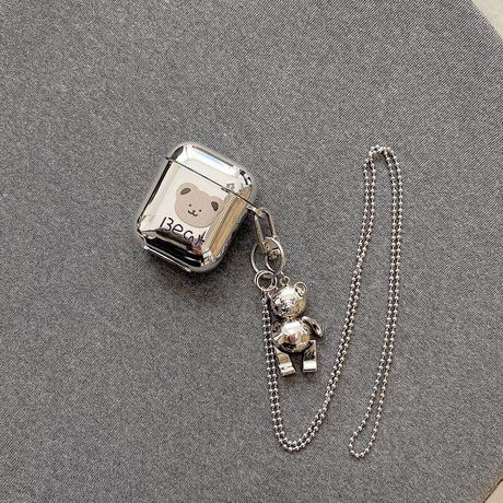 銀色bear airpodsproケース  クマキーホルダー付  airpodsカバー   首掛け チェーン付き 高品質ソフトケース 金属ツヤ感あり キラキラ  M566