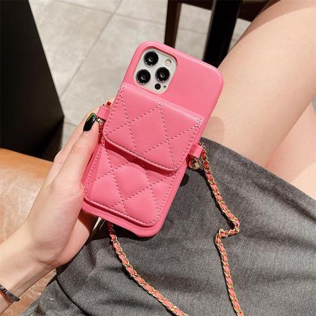 革製カード収納 iphone13/13proケース  首掛けチェーン付き iphone11/12proカバー  高品質 お上品 便利 M1134