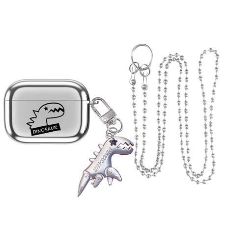 銀色 恐竜  airpodsproケース  dinosaur キーホルダー airpodsカバー チェーン付き 紐掛け 頑丈ツヤあるM395