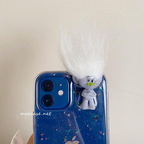 キャラクター トロールズ  iphone13proケース 透明 iphone12/11promaxカバー  星ラメ入り 頑丈 可愛い M755