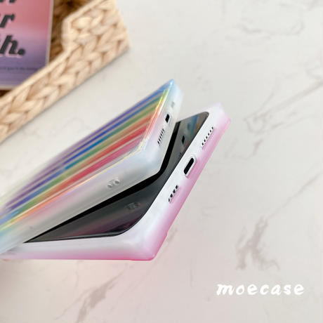 四角 アイフォン12mini/11pro/SE2ケース 透明 グラデーションおしゃれiphonexsカバー スクエア女子力UPツヤ感スマホケースM115