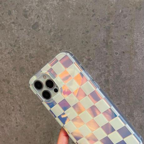 キラキラチェック柄 iphone12/se2ケース  色が変わるiphone11/xs/xsmaxカバー  綺麗  ファッション 艶感ありM750