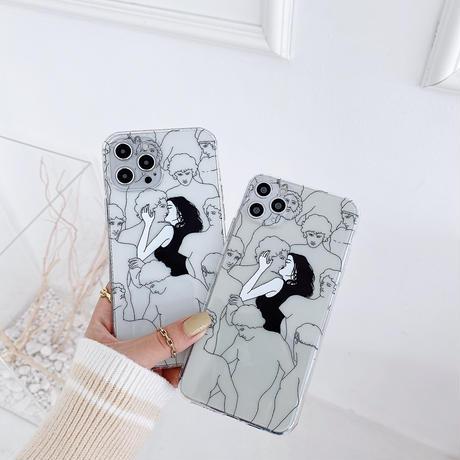 KISSキッス iphone12/11ケース  お揃いクリア アイフォンSE2/xsカバー 抽象画風 面白い個性携帯保護カバーM333