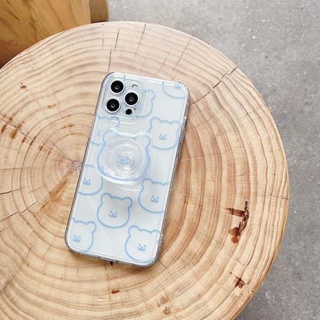 クマスマホグリップ付 iphone11/12ケース クマ柄クリア iphonexs/SE2カバー   多機能 可愛いスマホケースM747