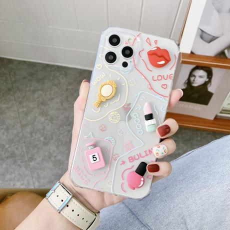 唇 口紅 iphone12/11ケース  化粧品 香水 iphoneSE2/XS/8デコカバー  可愛いガールズ向けスマホカバー M574