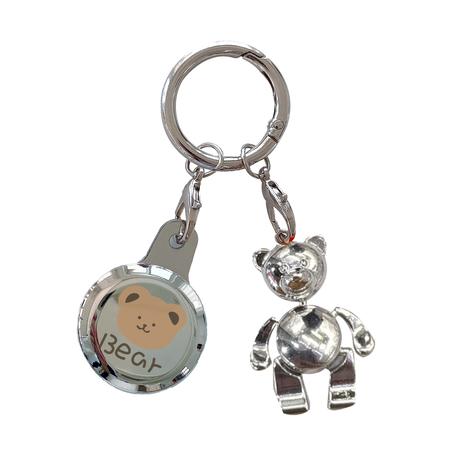 恐竜 ロボット AirTagケース  ウサギ クマさん 可愛い エアタグカバー  キーホルダー付き 銀色鏡面 ツヤ感 耐久性M568