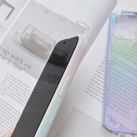 オーロラに光る iphone11/12proケース カラー枠 おしゃれクリアiphoneSE2/XSカバー  ツヤあり キラキラ 変色 頑丈M321