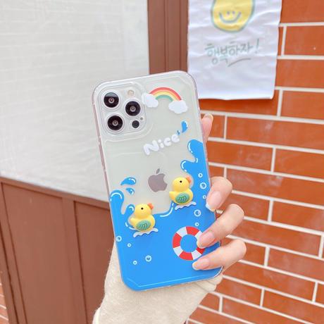 水泳ダック  iphone12/11ケース  立体アヒルちゃん iphoneSE2/XR/8カバー  クリア インスタ人気  夏おすすめM572