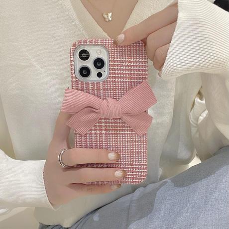 リボン付 iphone13pro/12ケース  ピンクチェック柄  iphoneSE2/11カバー 女子力アップ  秋冬人気アイテムM1052